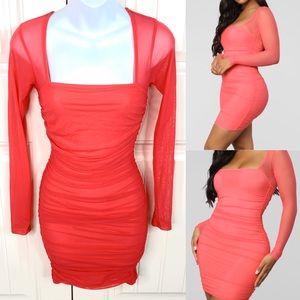 Fashion Nova Coral Ruched Mesh Bodycon Dress